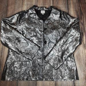 Chicos foiled silver metallic blazer size 3